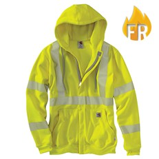 Carhartt FR Heavy Weight High-Visibility Class 3 Hooded Zip Front Sweatshirt