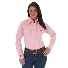 Wrangler Women's FR Pink Snap Closure Work Shirt