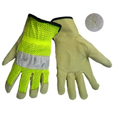 Global Glove: 3100PHV High Vis Pigskin Driver, reflective tape - Per Dozen/Size